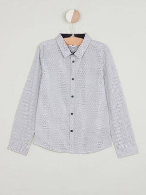 Chemise coton imprimee blanc garcon