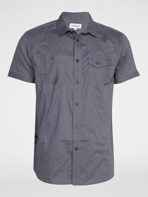Chemise droite unie en coton gris fonce homme