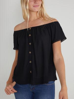 T shirt boutonne col Bardot noir femme