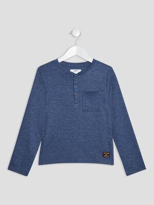 T shirt manches courtes bleu fonce garcon