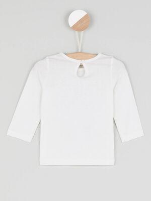 T shirt col rond a message ecru fille