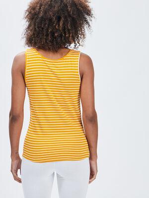 Debardeur bretelles larges jaune moutarde femme