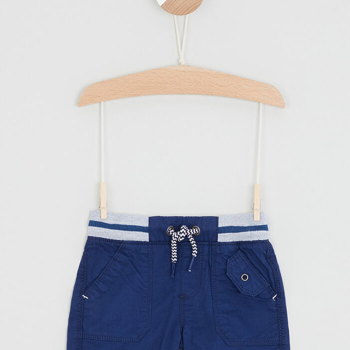 Bermuda coton à taille élastiquée bébé garçon bleu marine