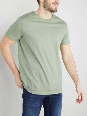 T shirt col rond uni vert clair homme