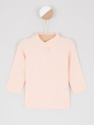 T shirt col roule uni rose clair bebef