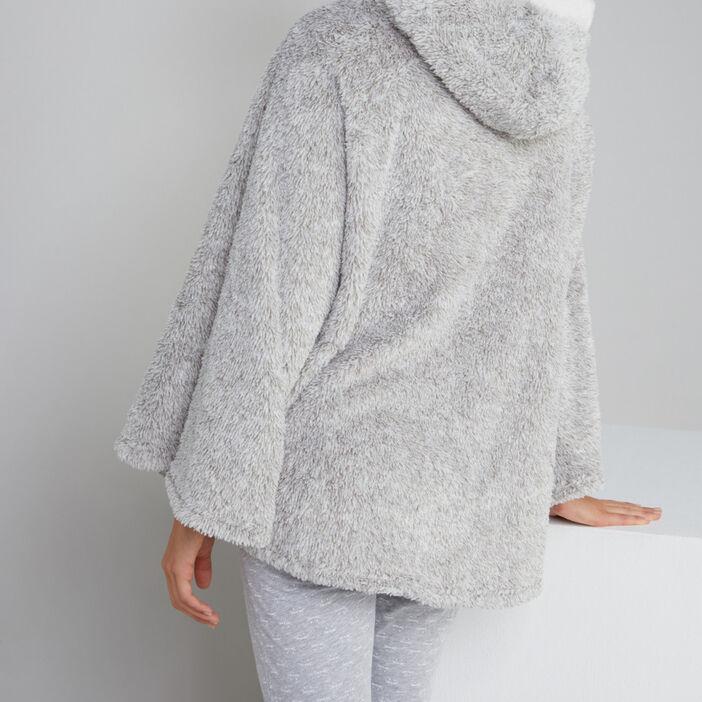 Sweat de nuit avec capuche femme gris
