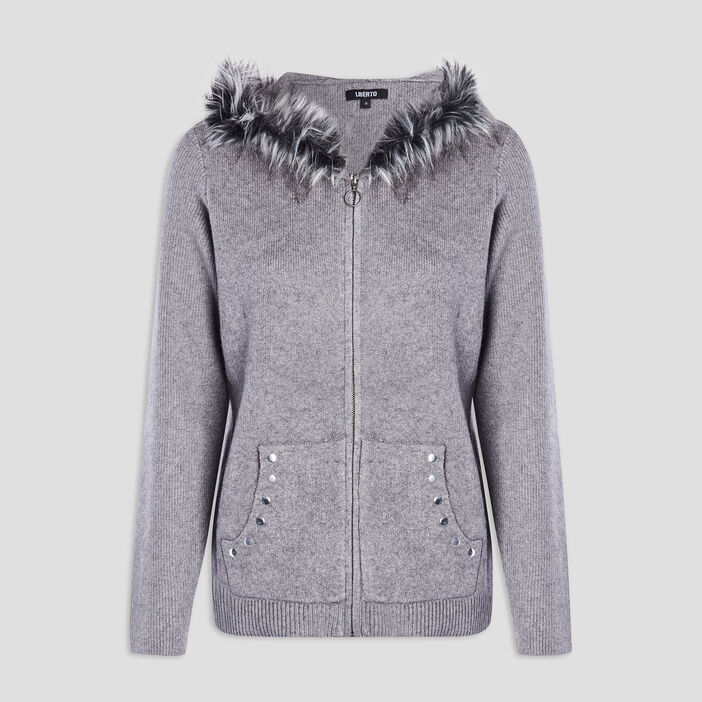 Gilet zippé à capuche femme gris