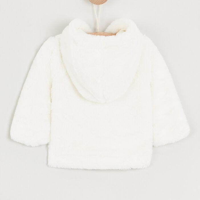 Gilet zippé duveteux à capuche bébé fille ecru