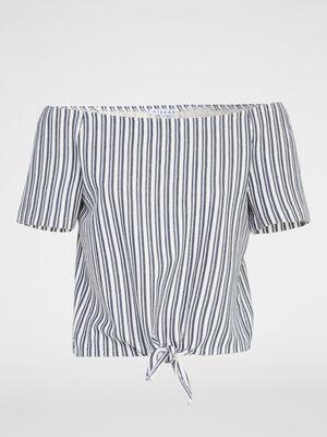 T shirt raye epaules denudees ecru femme