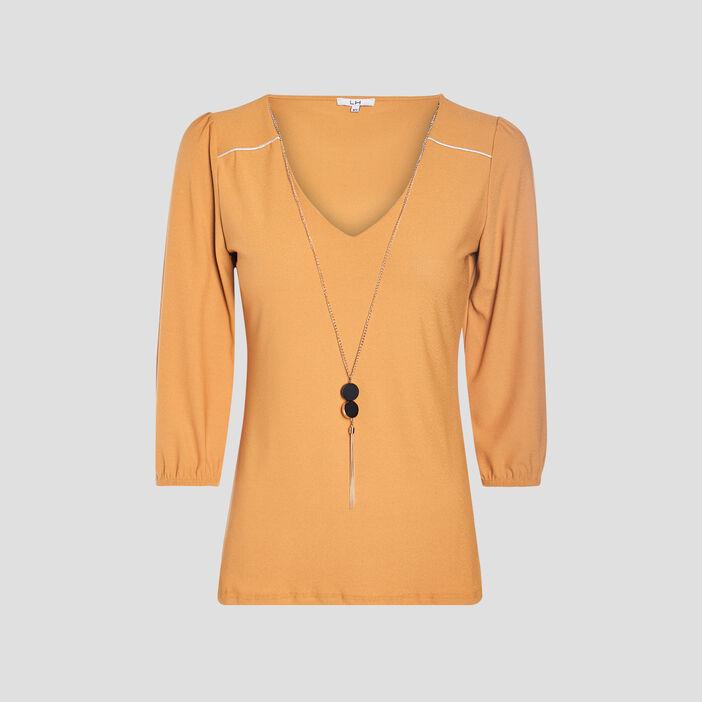 T-shirt manches 3/4 femme jaune moutarde