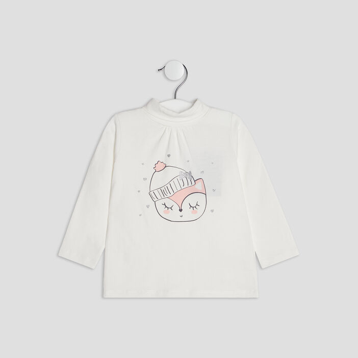 T-shirt manches longues bébé fille ecru