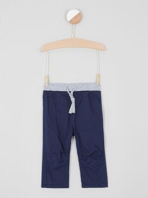 Pantalon elastique en coton uni bleu marine garcon