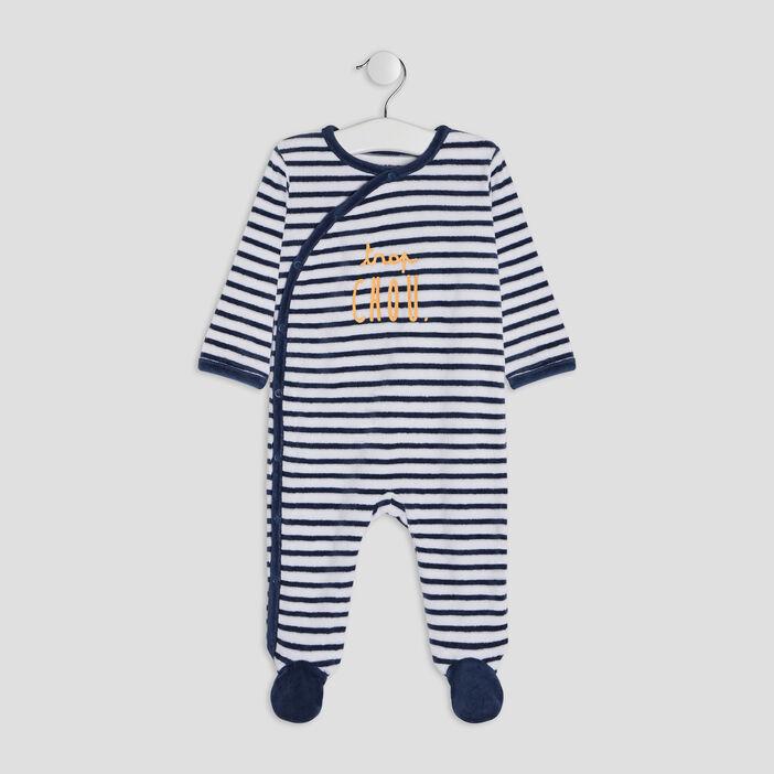 Dors-bien effet velours bébé garçon bleu marine