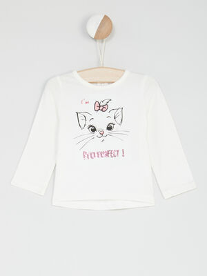 T shirt manches longues Aristochats blanc fille