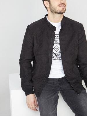 Veste faux cuir noir homme
