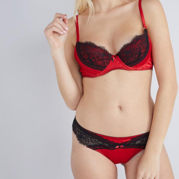 Soutien-gorge en dentelle bicolore femme rouge