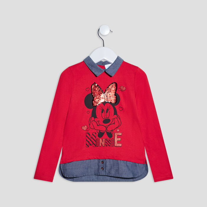 T-shirt effet 2-en-1 Minnie fille rouge