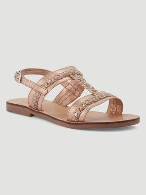 Sandales a details tresses sable fille
