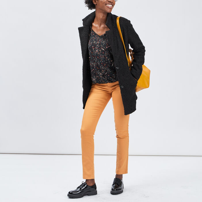 Pantalon skinny taille basse femme jaune moutarde