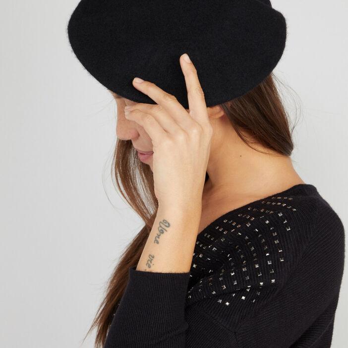 Béret uni en laine femme noir