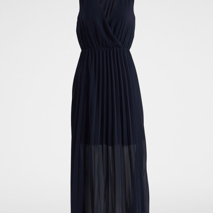 Robe longue droite sans manches femme bleu marine