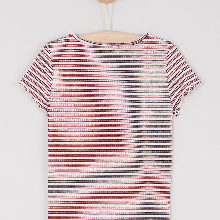 T-shirt rayé finitions volantées fille ecru