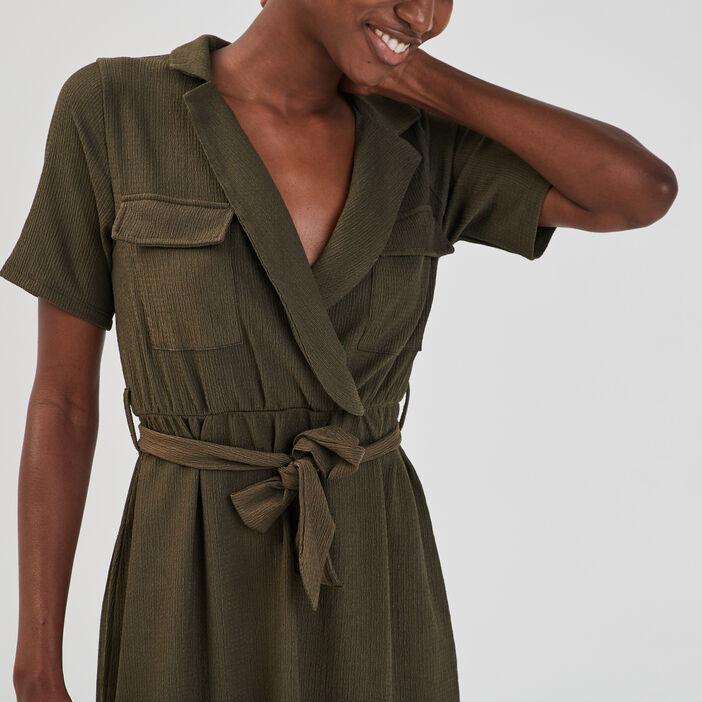 Robe droite ceinturée femme vert kaki