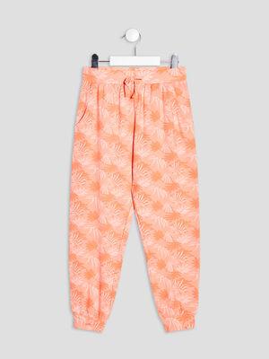 Pantalon jogging orange corail fille