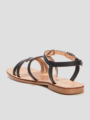 Sandales plates Creeks noir femme