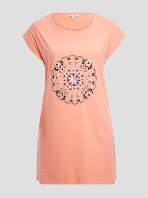 Chemise de nuit orange corail femme