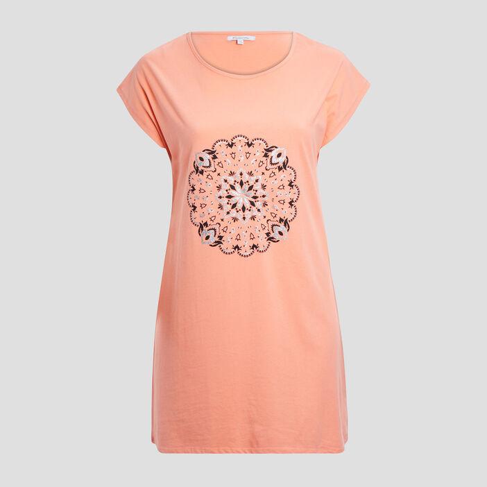 Chemise de nuit femme orange corail