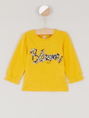 Sweatshirt dessin devant jaune fille