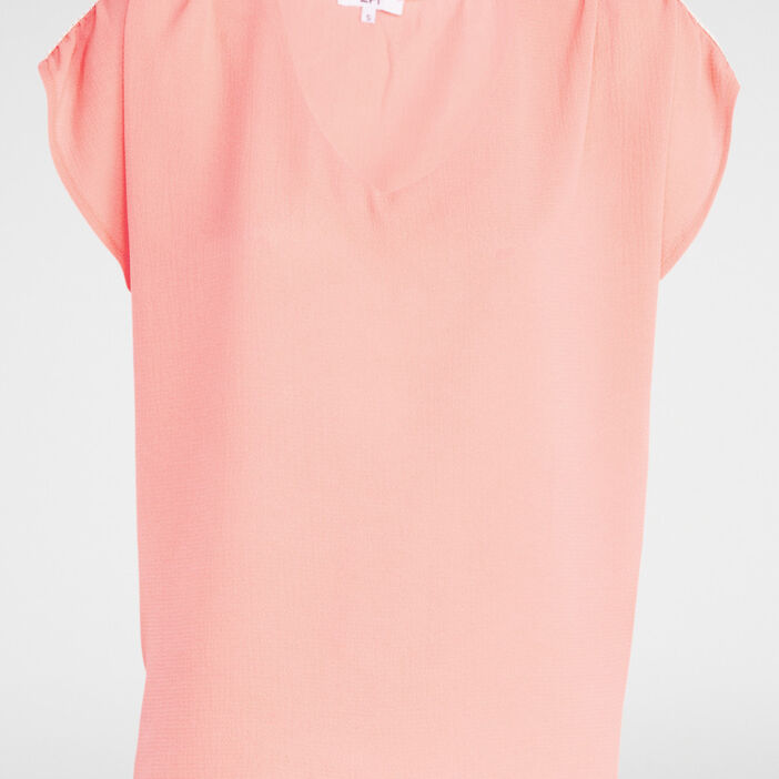 T-shirt col V uni femme orange corail