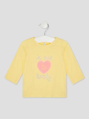 T shirt manches longues avec imprime jaune fille
