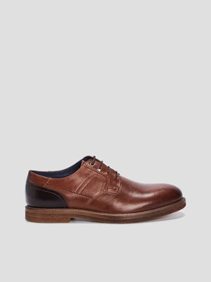 Derbies plates en cuir marron homme