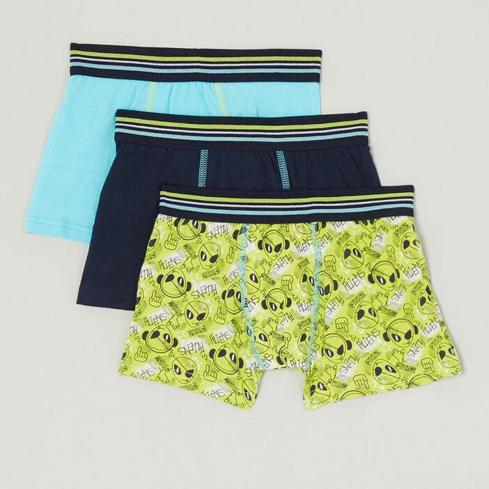 Lot 3 boxers coton majoritaire garçon vert anis