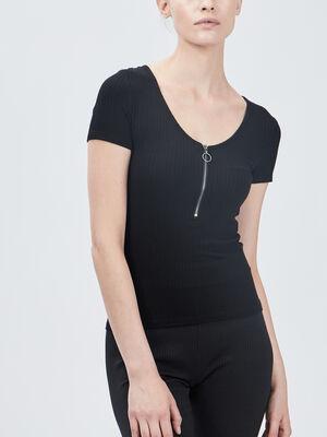 T shirt cotele Liberto noir femme