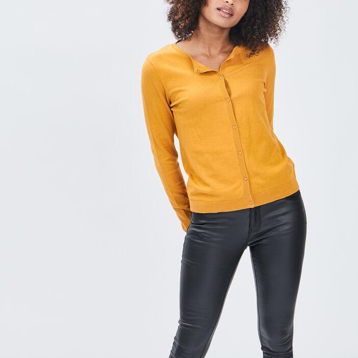 Gilet manches longues boutonné femme jaune moutarde