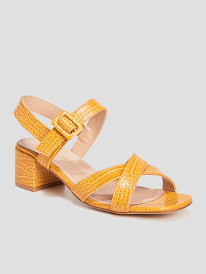 Sandales a talons textures jaune femme