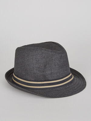 Chapeau avec ruban raye gris fonce garcon