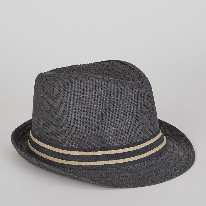 Chapeau avec ruban rayé garçon gris foncé