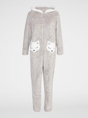 Combinaison longue pyjama renard beige femme