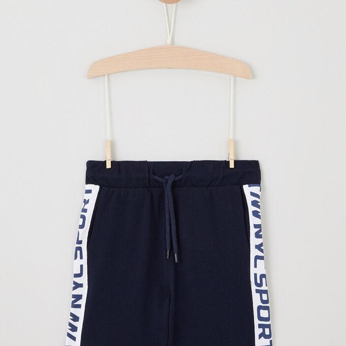 Short jogging droit à bandes garçon bleu marine