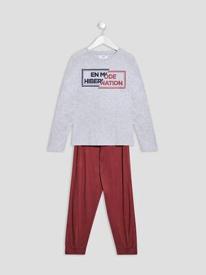 Ensemble pyjama 2 pieces gris garcon