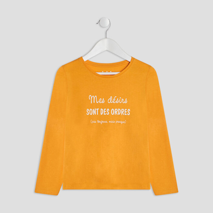 T-shirt manches longues fille jaune moutarde