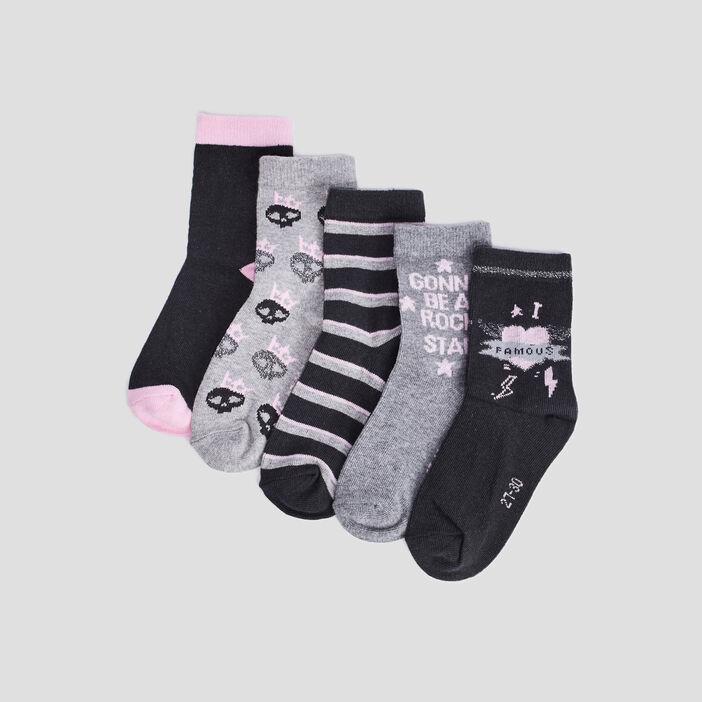 Lot 5 paires chaussettes fille gris