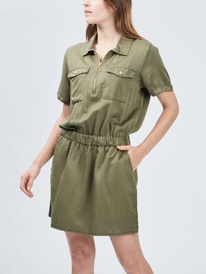 Robe droite Liberto vert kaki femme