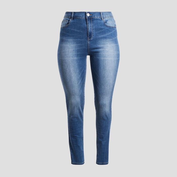 Jeans slim taille ajustable femme grande taille denim stone