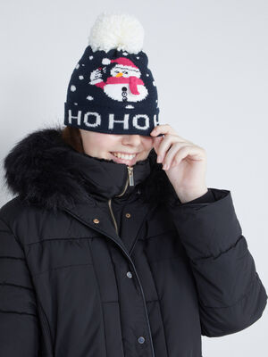 bonnet pompon jacquard noel bleu marine femme
