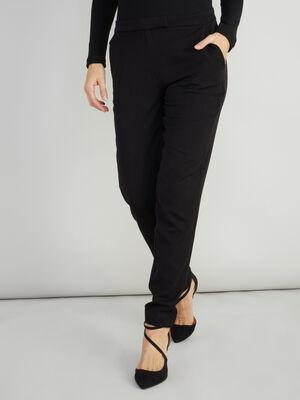 Pantalon cigarette uni noir femme